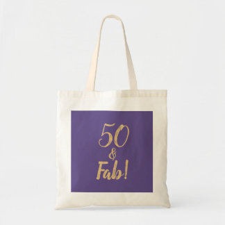 """Bolso De Tela Púrpura elegante """"50 y fabuloso!"""" 50.o Fiesta de"""
