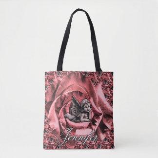Bolso De Tela Querube personalizada del ángel con los rosas