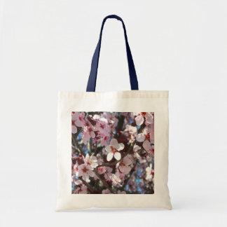 Bolso De Tela Rama del árbol floreciente de la primavera rosada