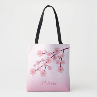 Bolso De Tela Rama floral de Sakura de la flor de cerezo rosada