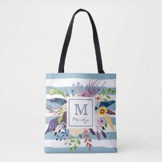 Bolso De Tela Rayas azules, monograma pintado acuarela floral