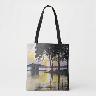 Bolso De Tela Reflexiones negras amarillas hermosas del agua de