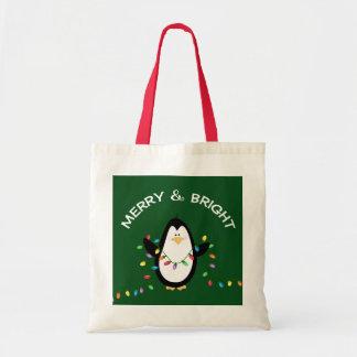 Bolso De Tela Regalo de vacaciones del navidad del pingüino de