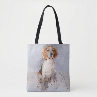 Bolso De Tela Retrato lindo de la acuarela del beagle