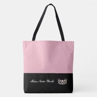 Bolso De Tela Rosa Bolso-Grande del tote de la corona de la