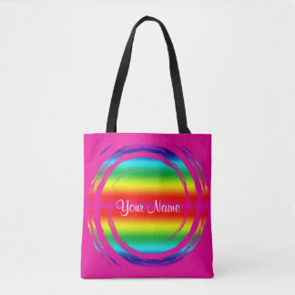 Bolso De Tela Rosa del círculo del arco iris que remolina