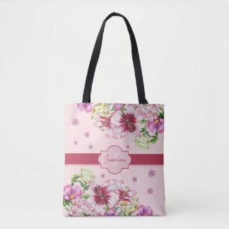 Bolso De Tela Rosa floral del lirio y del Peony