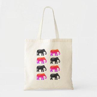 Bolso De Tela Rosa y tote negro del elefante africano