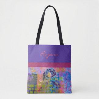 Bolso De Tela Rosas azules - púrpuras y rosados - bolso/tote