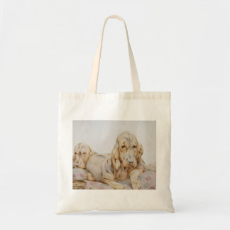 Bolso De Tela Sabuesos lindos del vintage, perros de perrito por