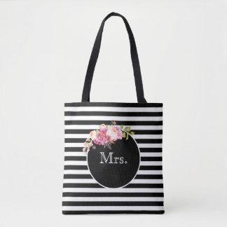 Bolso De Tela Señora con las rayas y las flores negras y blancas