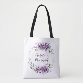 Bolso De Tela Señora futura floral púrpura Bridal de la lavanda