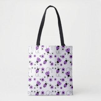 Bolso De Tela Señora púrpura Bug Floral Teen Girl de la
