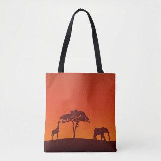 Bolso De Tela Silueta africana del safari todo encima - imprima