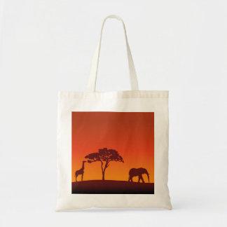 Bolso De Tela Silueta africana del safari - tote del presupuesto