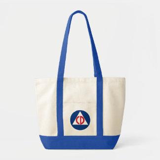 Bolso De Tela Símbolo del vintage del logotipo de la defensa