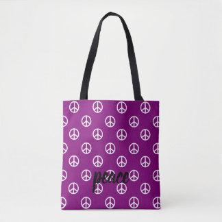 Bolso De Tela Símbolos de paz blancos en la púrpura gitana