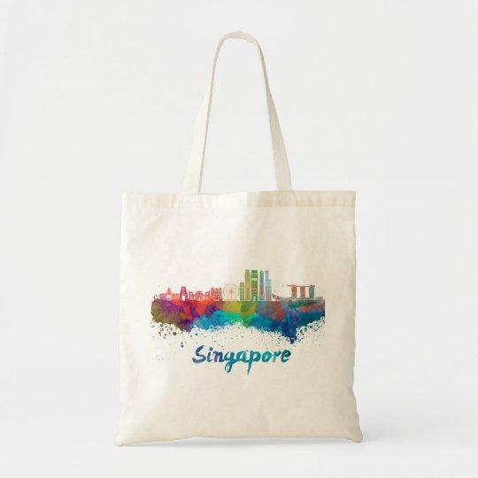 Bolso De Tela Singapore V2 skyline in watercolor