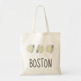 Bolso De Tela Sopa mA de Foodie de la sopa de almejas de BOSTON
