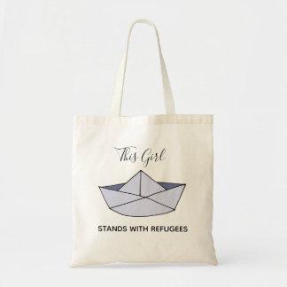 Bolso De Tela Soporte con el barco del papel del Doodle de los
