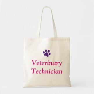 Bolso De Tela Técnico veterinario con la impresión púrpura de la