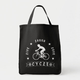 Bolso De Tela Texto de Live Laugh Love Cycle de señora (blanco)