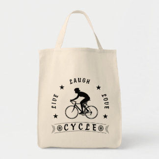 Bolso De Tela Texto de Live Laugh Love Cycle de señora (negro)