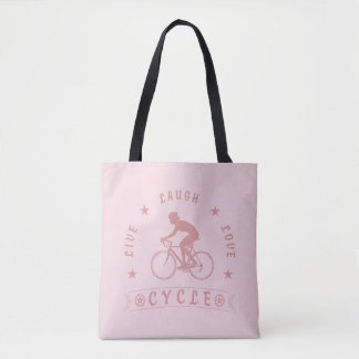 Bolso De Tela Texto de Live Laugh Love Cycle de señora (rosa)