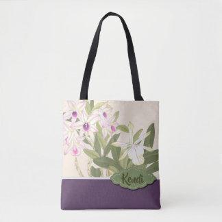 Bolso De Tela Texto japonés del personalizado de la orquídea de