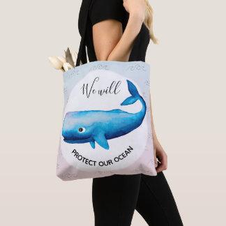 Bolso De Tela Tipografía marina de la ballena de Ombre de la