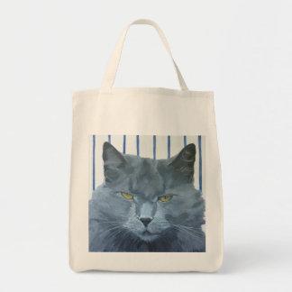 Bolso De Tela Totalizador gris del retrato del gato persa