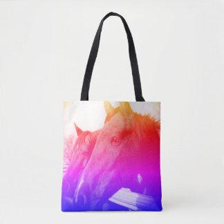 Bolso De Tela Tote - caballo y azul del arco iris