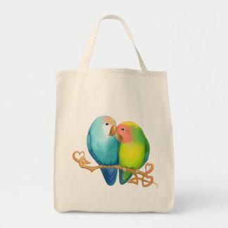Bolso De Tela Tote colorido del Lovebird