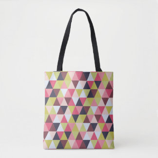 Bolso De Tela Tote colorido del triángulo (sobre todo rosas y