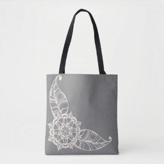 Bolso De Tela Tote de la flor de la mandala en gris y crema