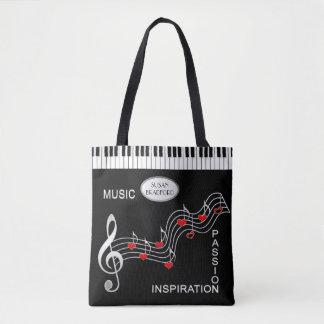 Bolso De Tela Tote de la música - teclado - notas - corazones