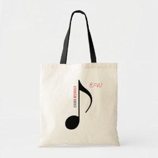 Bolso De Tela tote de la nota musical con su propio nombre en él