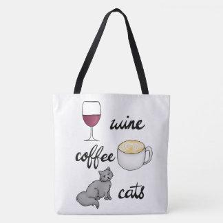 Bolso De Tela Tote de los gatos del café del vino