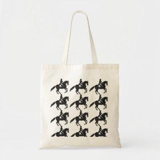 Bolso De Tela Tote del Dressage - caballo y teja de mosaico del