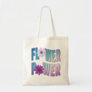 Bolso De Tela Tote del flower power - azul y diseño púrpura