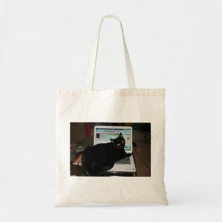 Bolso De Tela Tote del gato del ordenador