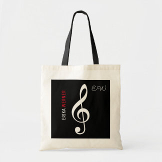 Bolso De Tela tote del negro de la nota musical con su propio
