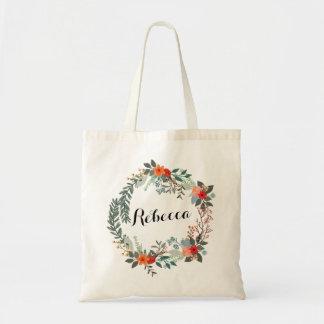 Bolso De Tela Tote floral personalizado de la dama de honor