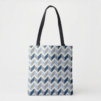 Bolso De Tela Tote geométrico azul