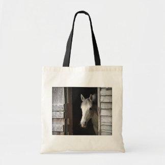 Bolso De Tela Tote gris del presupuesto del caballo de la yegua