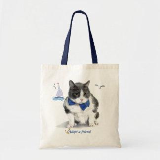 Bolso De Tela tote:  ofreciendo a Felix, el gatito, en el mes de