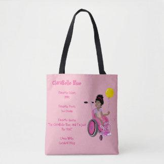 Bolso De Tela Tote perfecto - ClaraBelle w/Balloon azul (rosa)