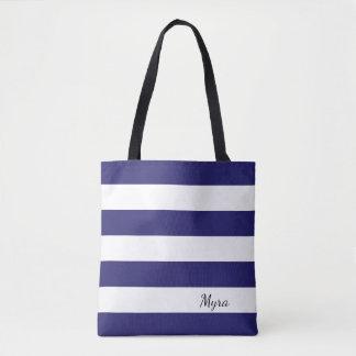 Bolso De Tela Tote rayado personalizado del azul marino y blanco