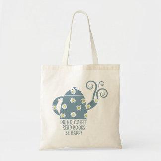 Bolso De Tela Tote retro: Beba el café, lea los libros, sea