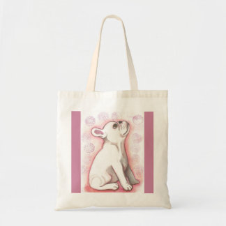 Bolso De Tela Tote rosado bonito del perrito del dogo francés